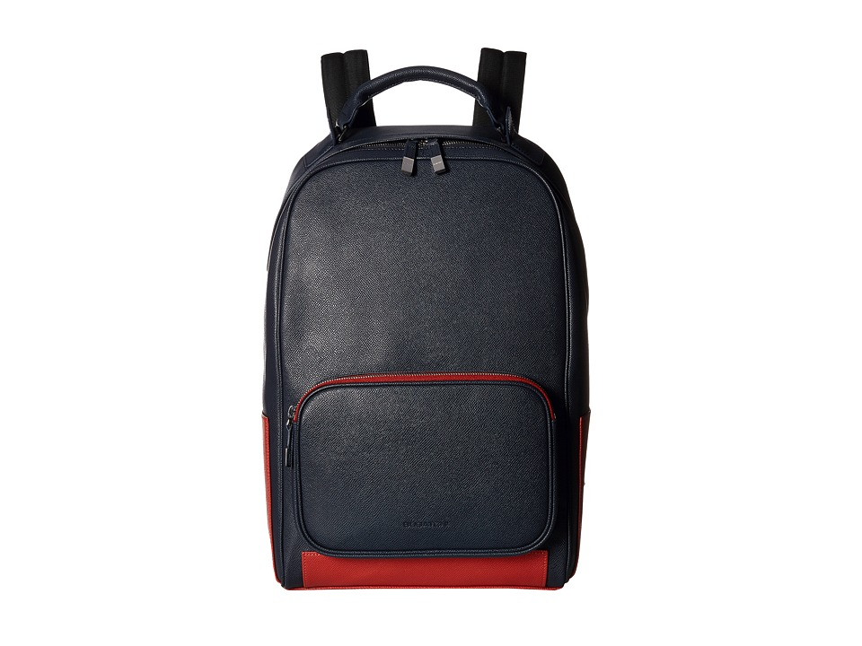 BUGATCHI - Semi Embossed Leather Backpack (Navy) Backpack Bags