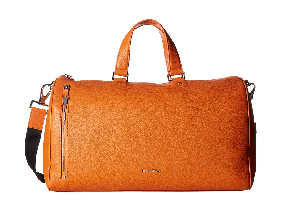 BUGATCHI - Pebble Leather Full Grain Leather Weekender Duffel Bag (Orange) Duffel Bags