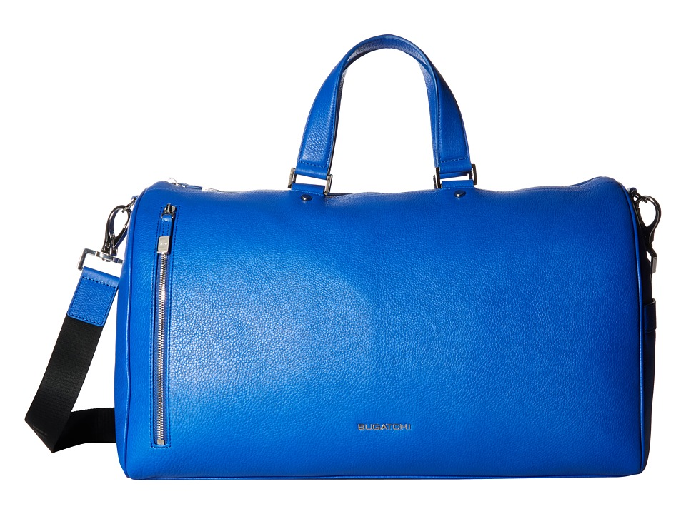 BUGATCHI - Pebble Leather Full Grain Leather Weekender Duffel Bag (Royal) Duffel Bags