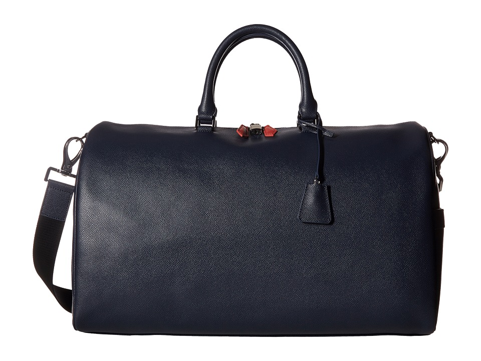 BUGATCHI - Semi Embossed Leather Weekender Duffel Bag (Navy) Duffel Bags