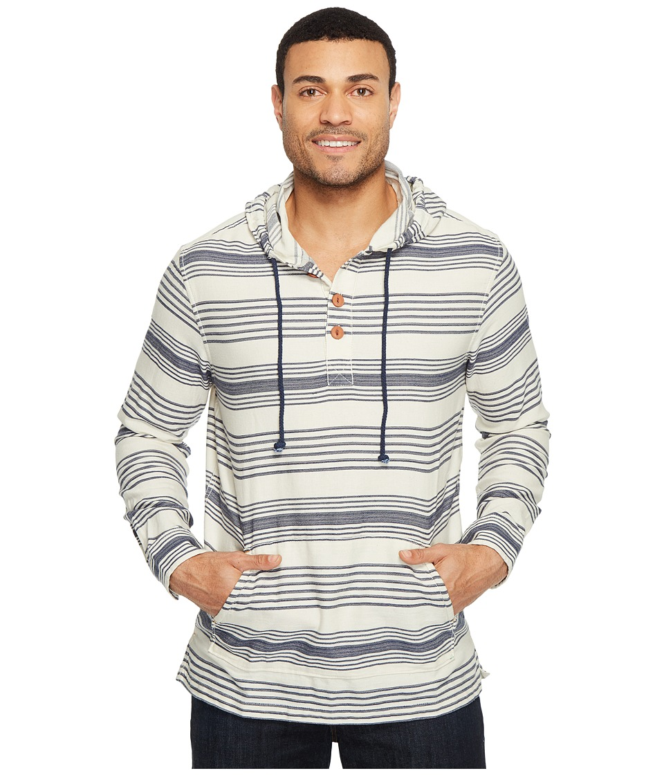 True Grit - Indigo Stripe Hoodie Poncho (Natural/Indigo) Men's Clothing