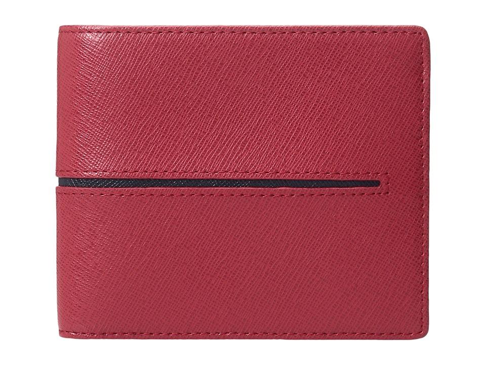 BUGATCHI - Saffiano Two-Tone Wallet (Red) Wallet Handbags