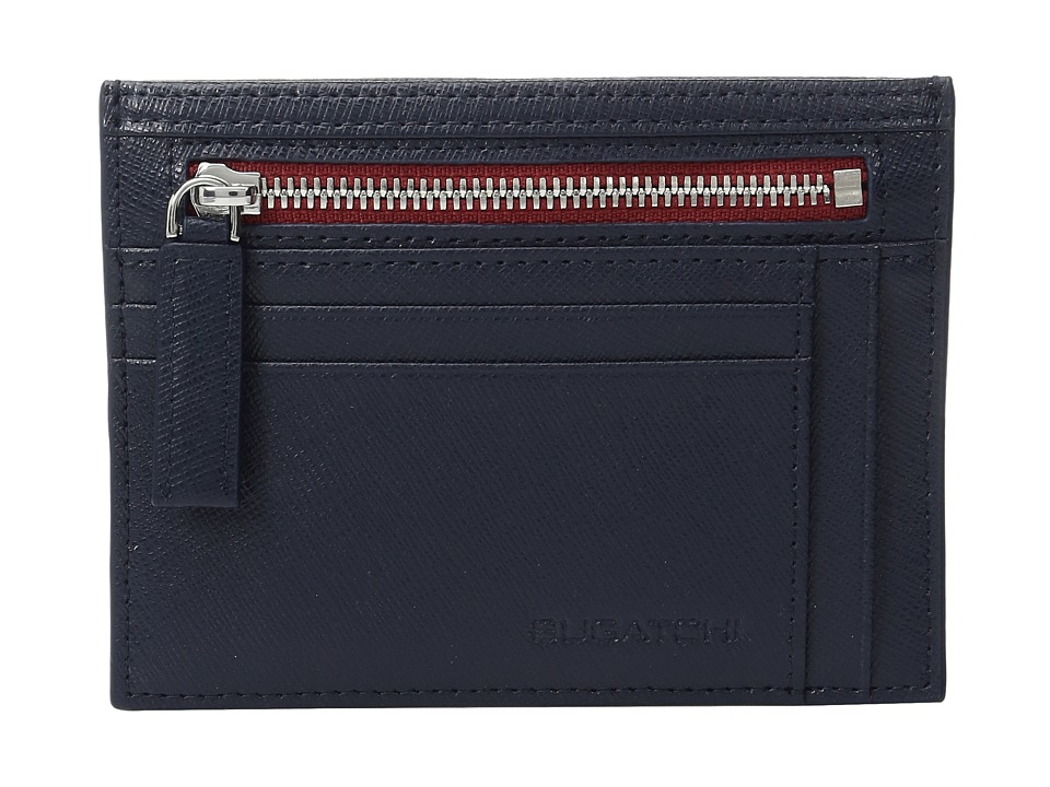 BUGATCHI - Saffiano Two-Tone Zip Card Case (Navy) Credit card Wallet