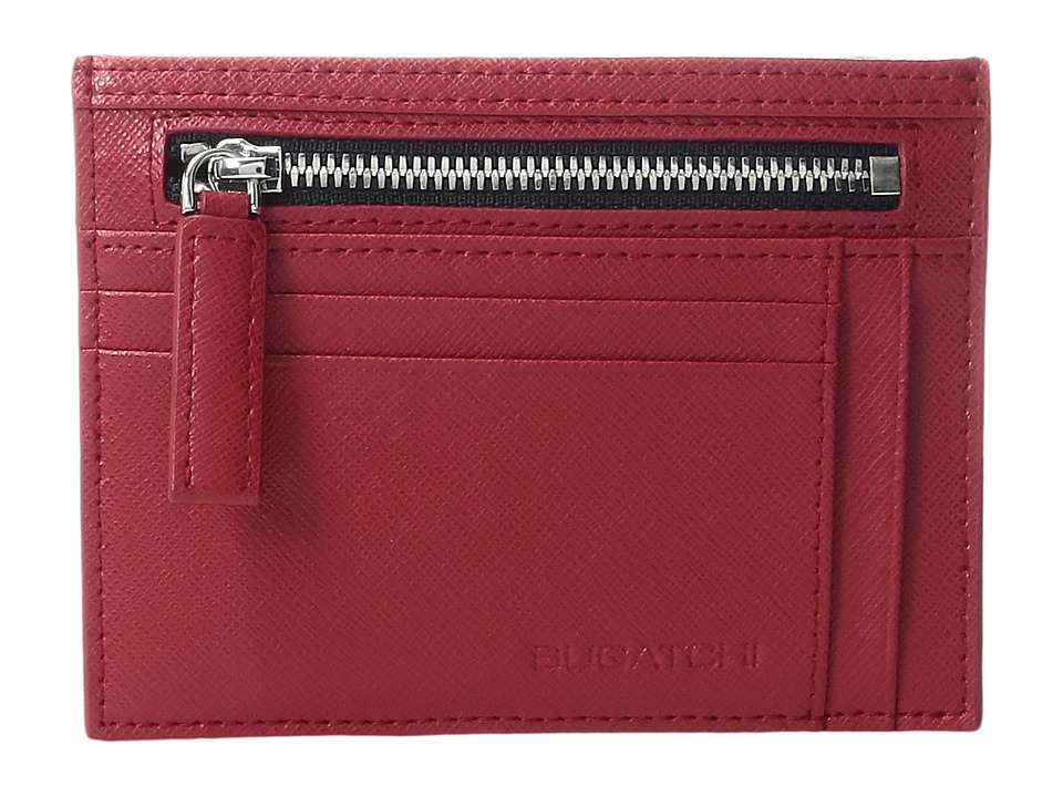 BUGATCHI - Saffiano Two-Tone Zip Card Case (Red) Credit card Wallet