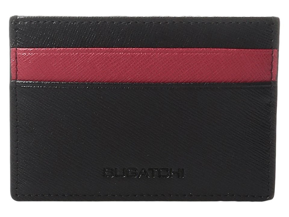 BUGATCHI - Saffiano Two-Tone Card Case (Black) Credit card Wallet