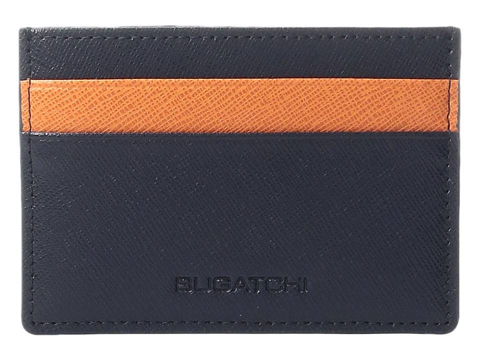 BUGATCHI - Saffiano Two-Tone Card Case (Navy) Credit card Wallet