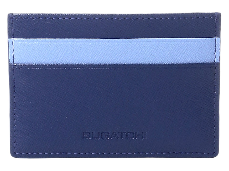 BUGATCHI - Saffiano Two-Tone Card Case (Royal) Credit card Wallet