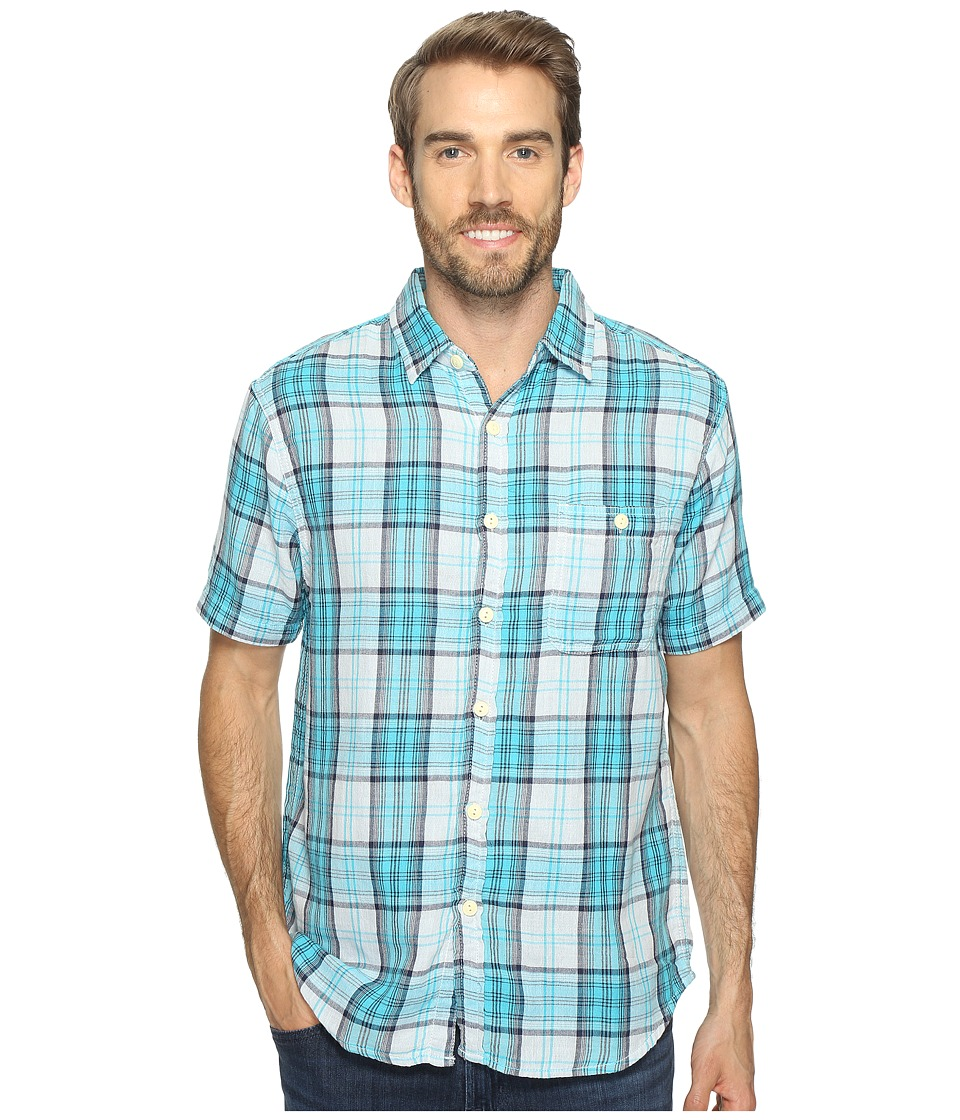 True Grit - Surf Check Short Sleeve Shirt Combed Cotton Double Light (Blue Plaid) Men's Clothing