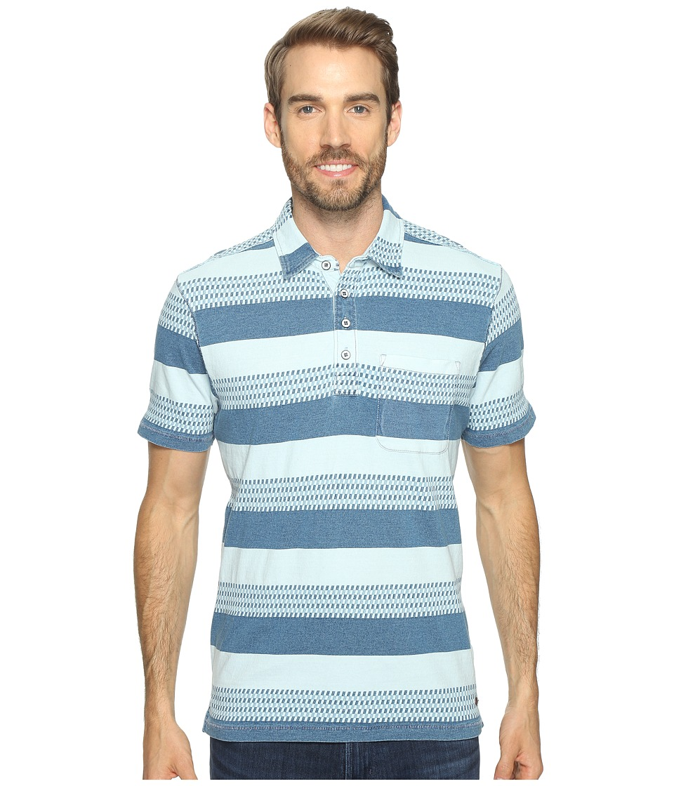 True Grit - Stacked Stripe Short Sleeve Polo (Indigo) Men's Clothing