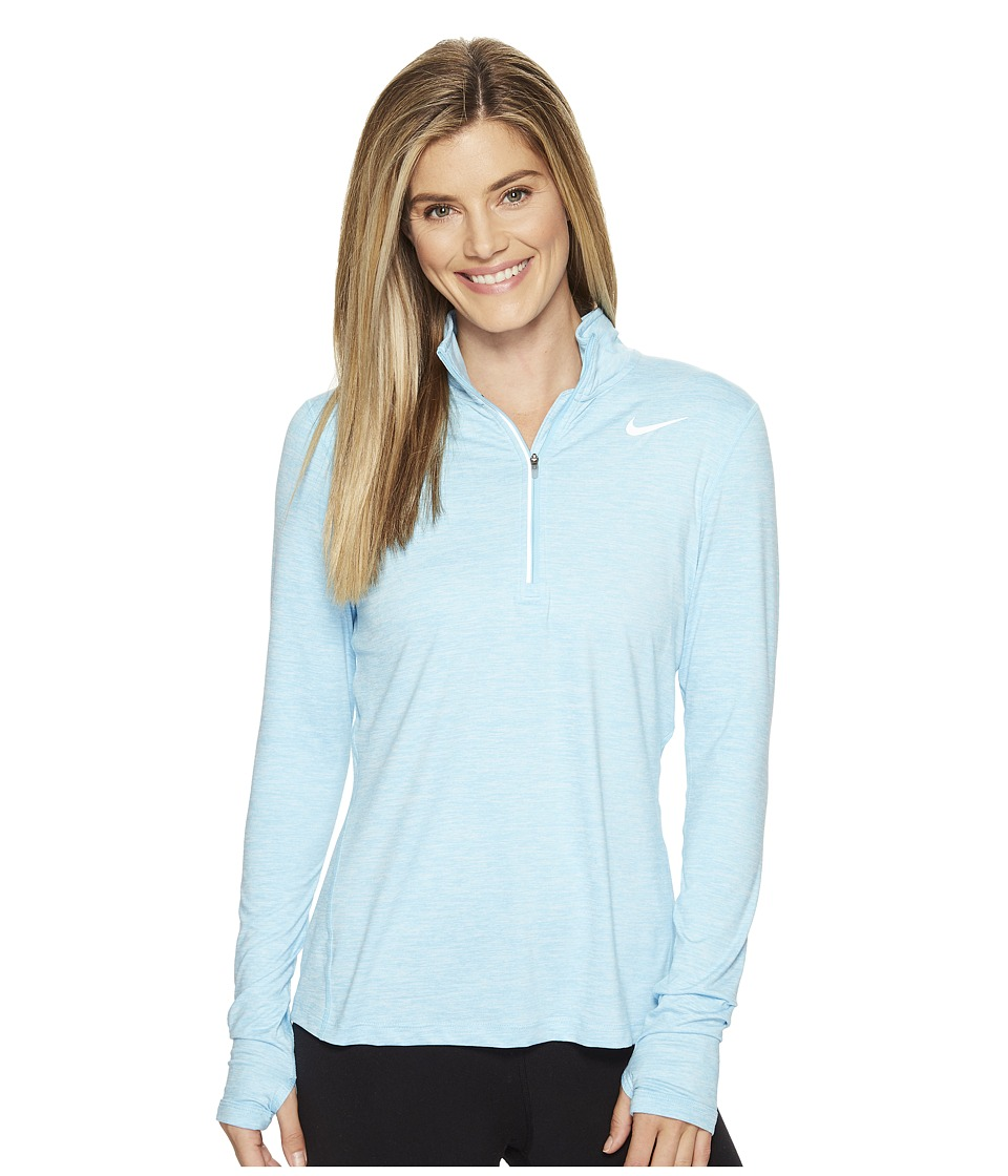 Nike - Dri-FITtm Element Half Zip (Vivid Sky/Heather) Women's Long Sleeve Pullover