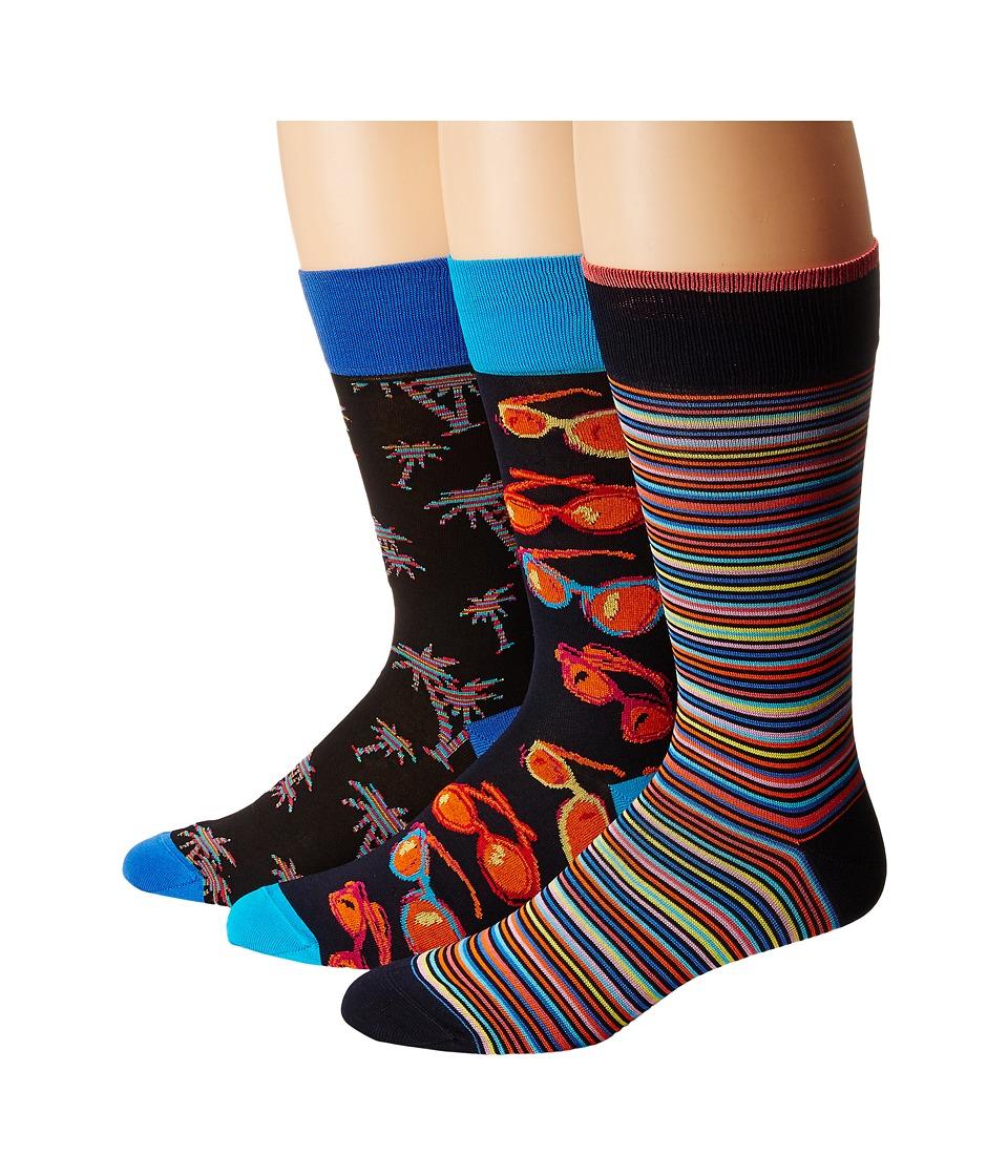 BUGATCHI - DB3PACK140 (Black) Men's Crew Cut Socks Shoes