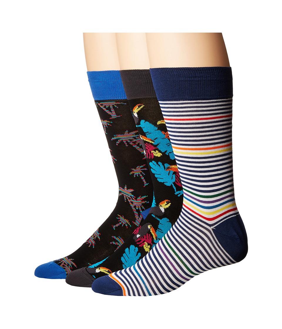 BUGATCHI - DB3PACK155 (Black) Men's Crew Cut Socks Shoes