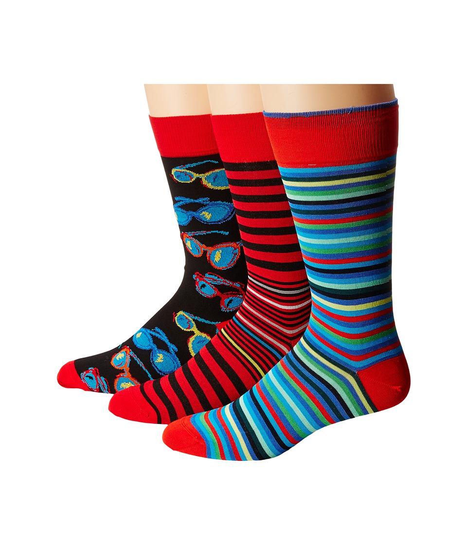 BUGATCHI - DB3PACK136 (Ruby) Men's Crew Cut Socks Shoes