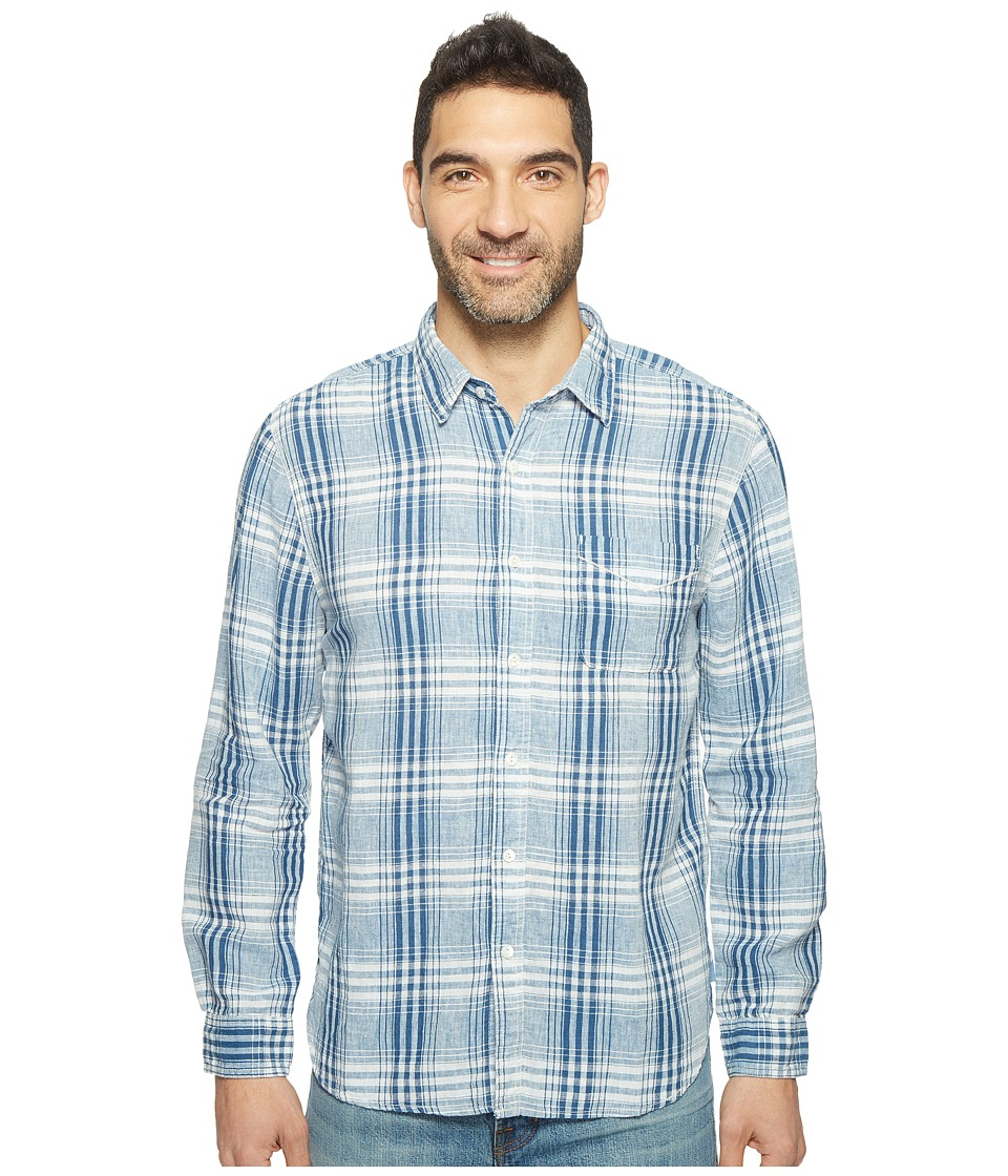 True Grit - Genuine Indigo Linen Long Sleeve One-Pocket Shirt Small Plaids (Denim) Men's Clothing