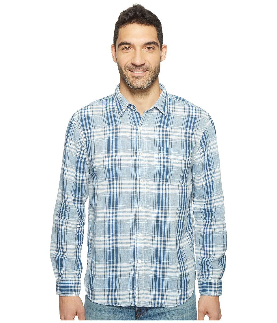 True Grit - Genuine Indigo Linen Long Sleeve One-Pocket Shirt Small Plaids (Denim) Men's Clothing