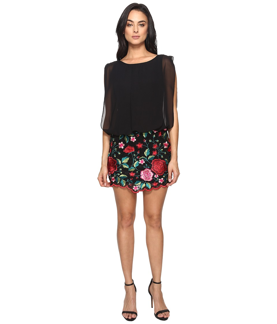 Aidan Mattox - Blousson Cocktail Dress with Multi Colored Embroidered Floral Lace Skirt (Red/Multi) Women's Dress