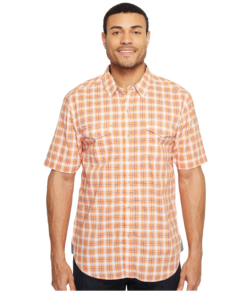 True Grit - Soho Plaid Short Sleeve Two-Pocket Shirt Stitch Detail Vintage Washed (Orange) Men's Clothing