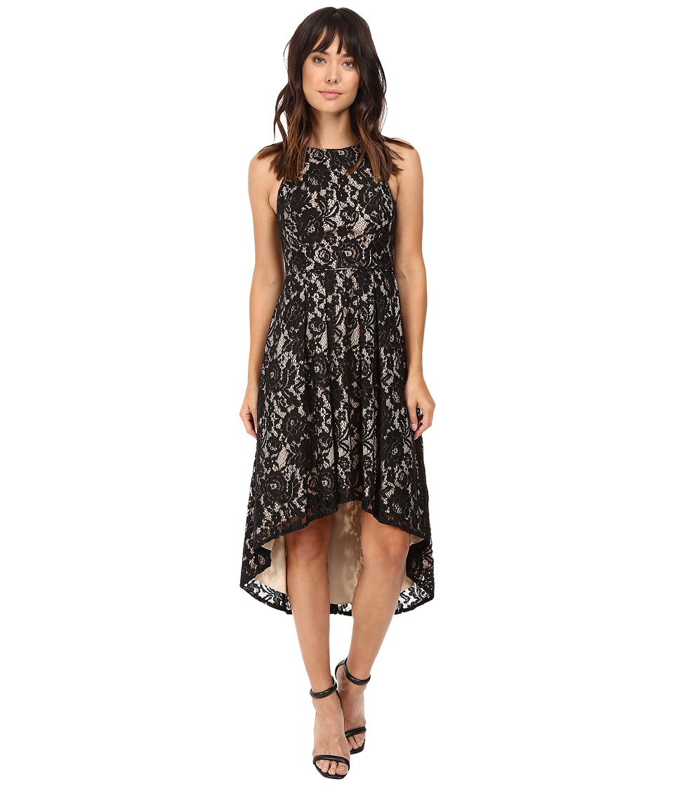 Aidan Mattox - Stretch Lace Cocktail Dress with High-Low Hem Detail (Black/Nude) Women's Dress