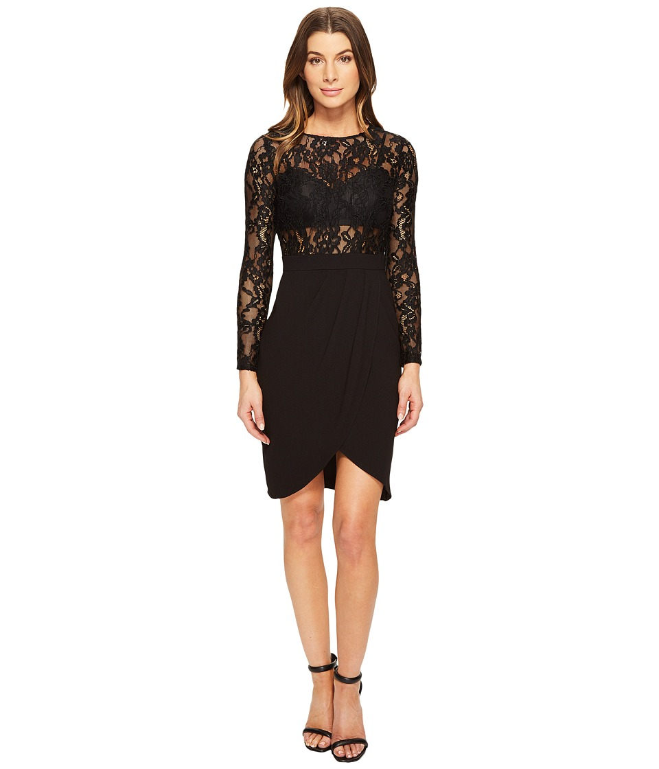 Aidan Mattox Long Sleeve Lace Crepe Cocktail Dress with Illusion Detail (Black) Women