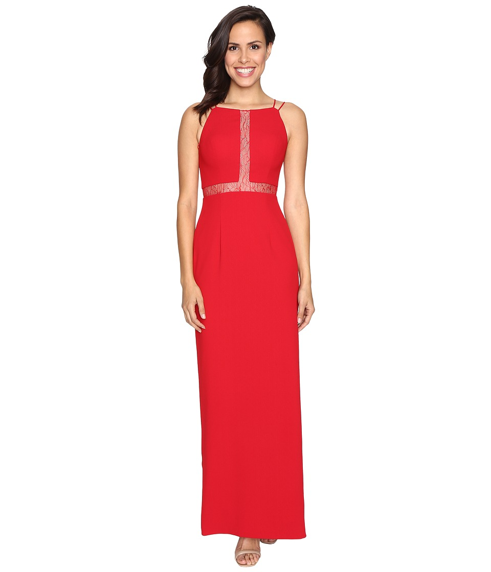 Aidan Mattox Long Crepe Column Gown with Illusion Detail (Red) Women