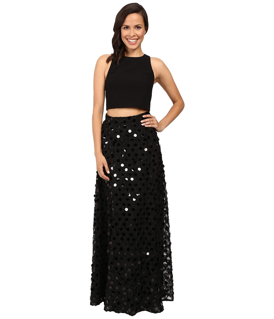 Aidan Mattox - Two-Piece Solid Crepe Halter Top with Embellished A-Line Ball Skirt (Black) Women's Dress