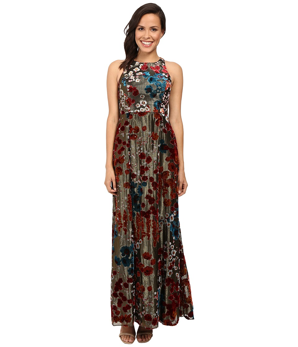 Aidan Mattox - Long Metallic Burnout Gown (Metallic Gold) Women's Dress
