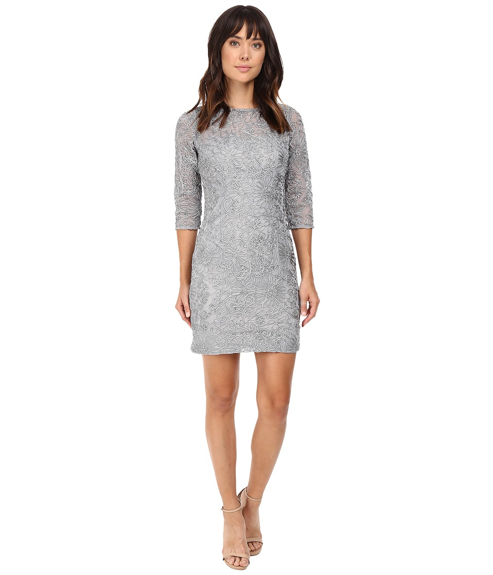 Aidan Mattox - Long Sleeve Soutache Cocktail Dress (Silver) Women's Dress