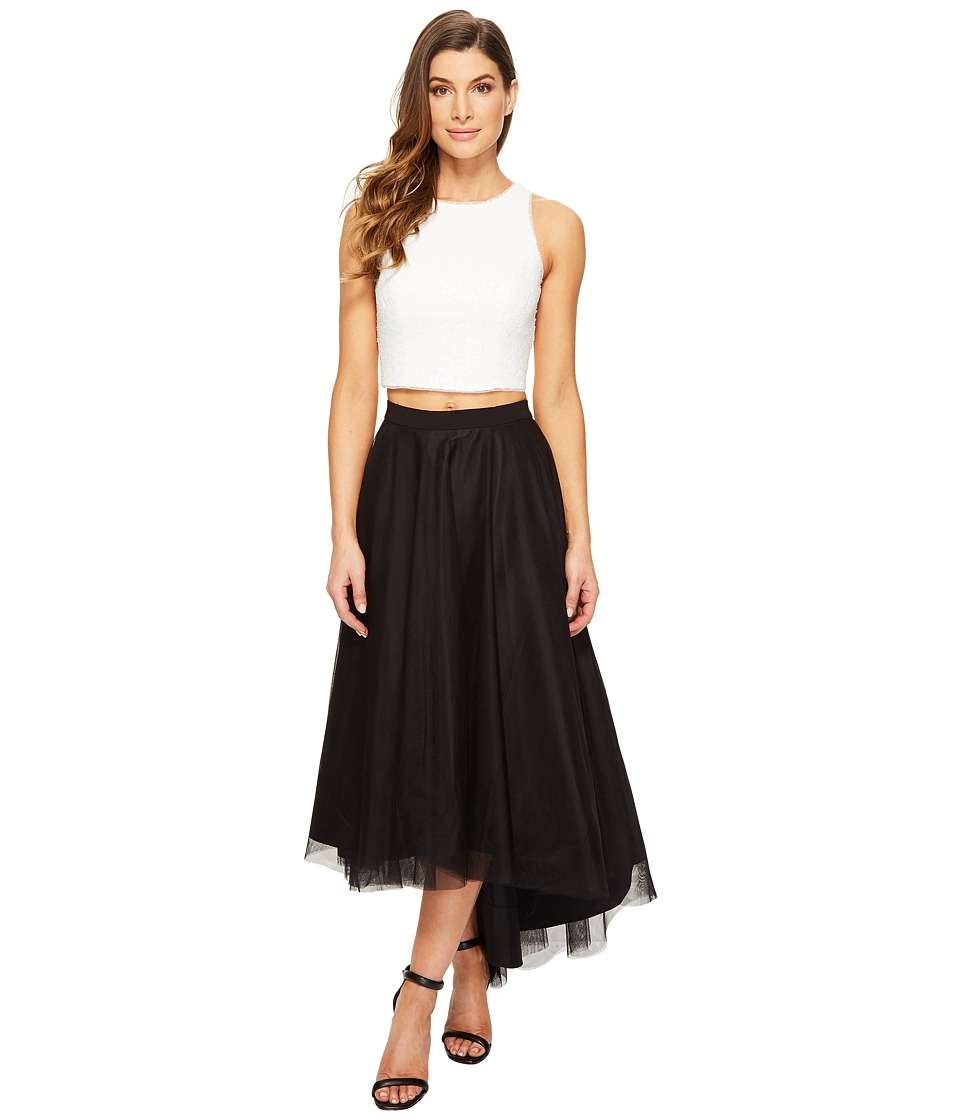 Aidan Mattox Ivory Sequin Halter Top with High-Low Black Mesh Skirt Ivory-Black Dress