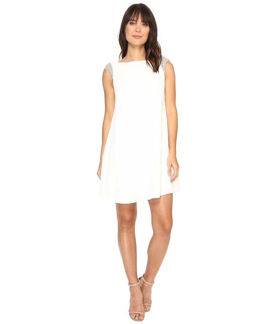 Aidan Mattox Trapeze Crepe Cocktail Dress with Beaded Shoulder Detail (Ivory) Women