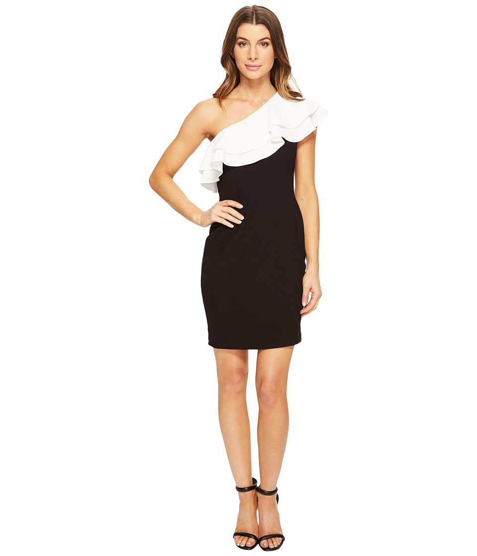 Aidan Mattox One Shoulder Stretch Crepe Cocktail Dress with Contrast Ruffle Detail (Black/Ivory) Women