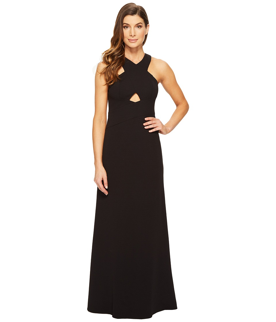 Aidan Mattox Scuba Crepe Long Gown with Cut Out Detail and Open Back Black Dress