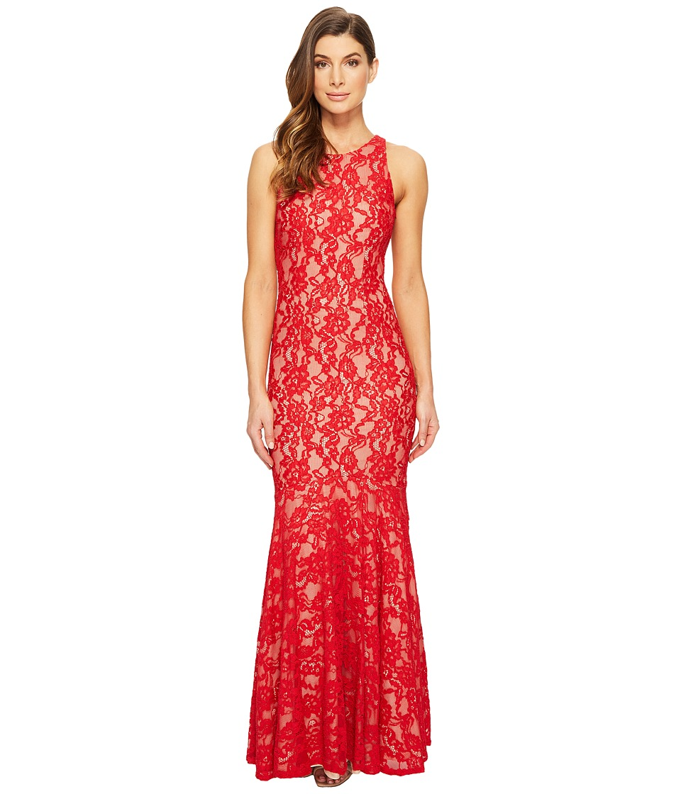 Aidan Mattox Long Stretch Lace Gown with Godet Hem (Red/Nude) Women