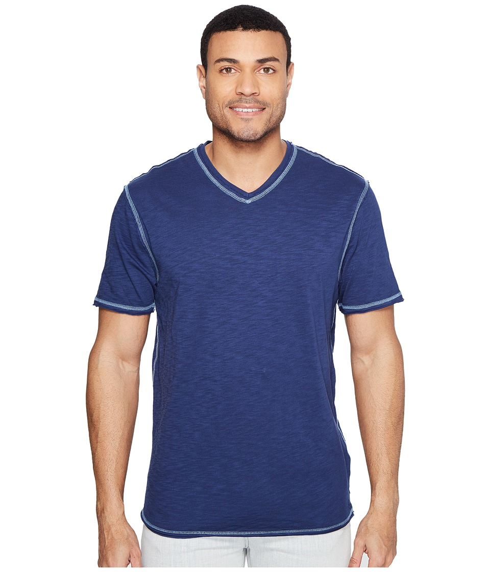 True Grit - Heritage Slub Short Sleeve V-Neck Tee w/ Contrast Stitch (Coastal Blue) Men's Clothing