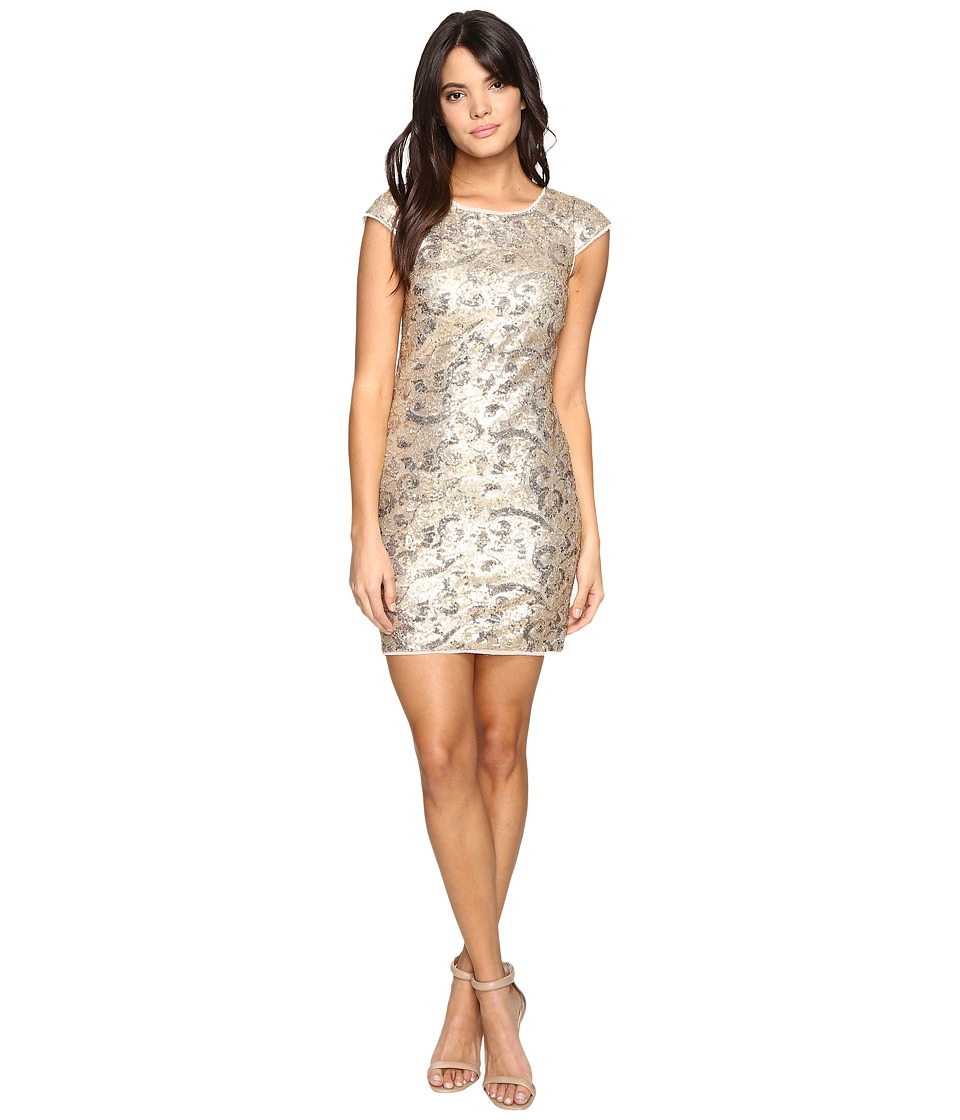 Aidan Mattox Cap Sleeve Stretch Sequin Sheath (Metallic Gold) Women