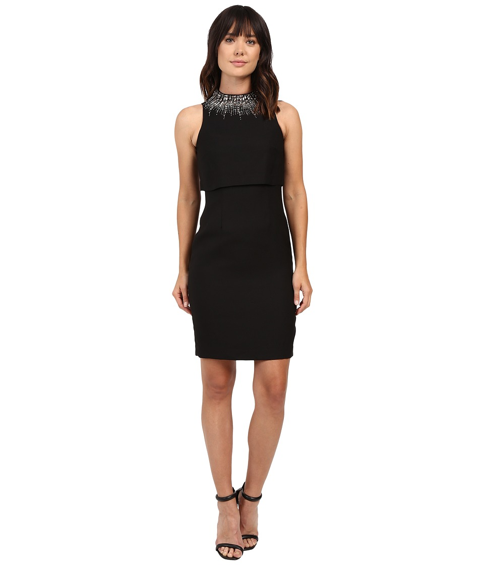 Aidan Mattox Sleeveless Sheath Dress with Popover Top and Beaded Necklace (Black) Women