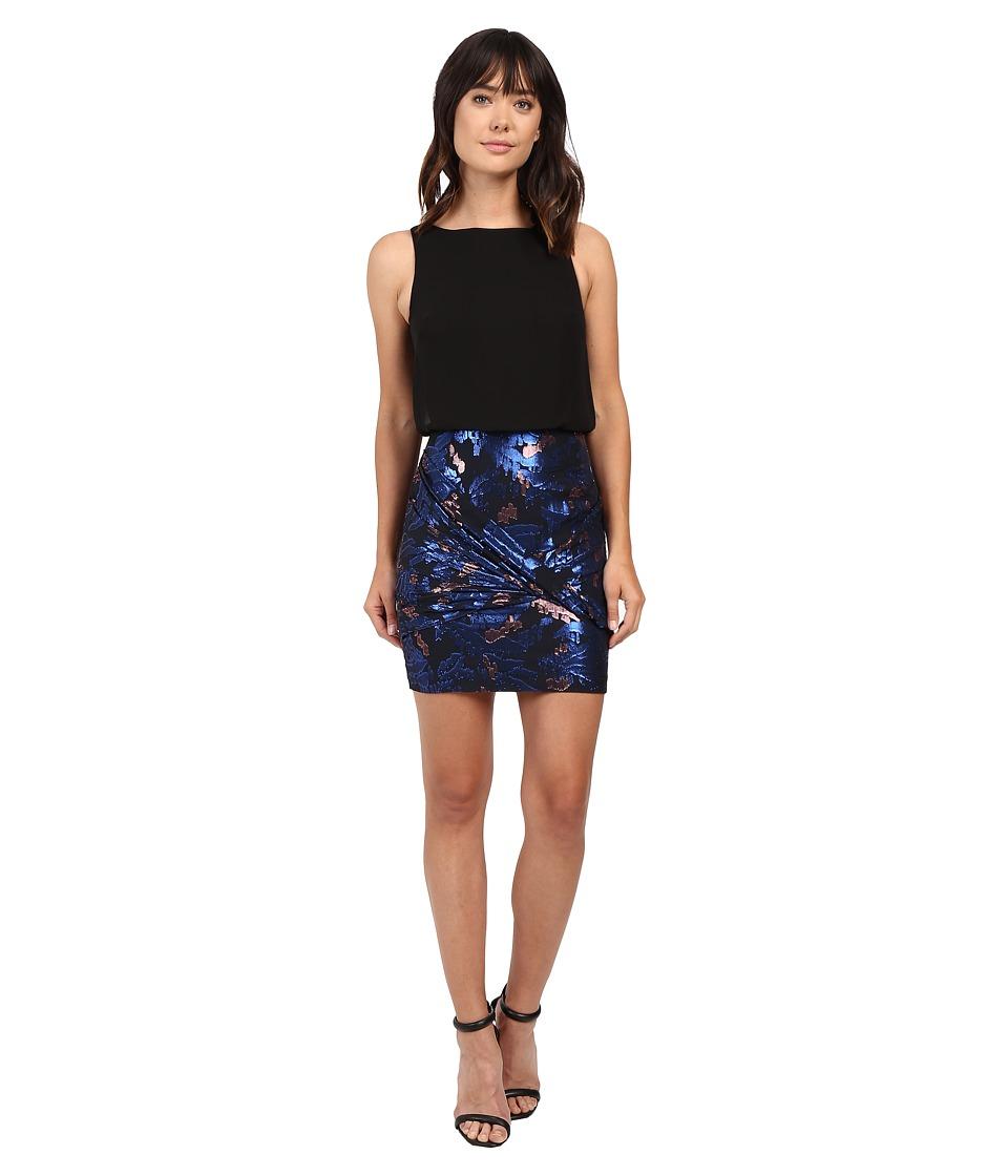 Aidan Mattox Sleeveless Blouson Top with Foil Jacquard Skirt Blue-Multi Dress