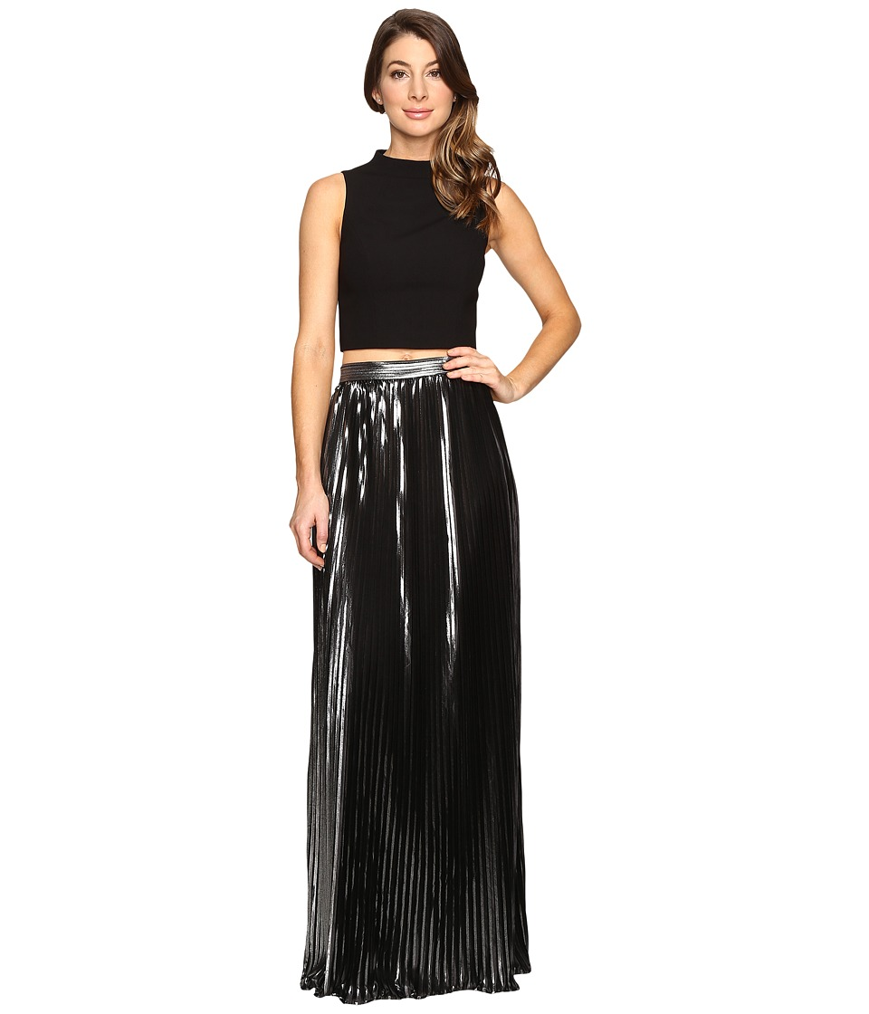 Aidan Mattox - Two-Piece Crepe Halter Top with Pleated Foil Shimmer Skirt (Black/Silver) Women's Dress