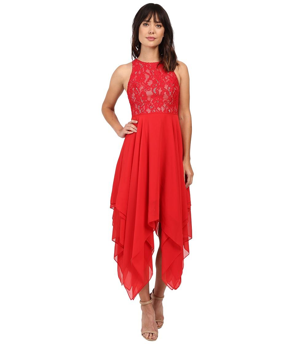 Aidan Mattox - Stretch Lace Halter Cocktail Dress with Hanky Hem Skirt Detail (Red/Nude) Women's Dress