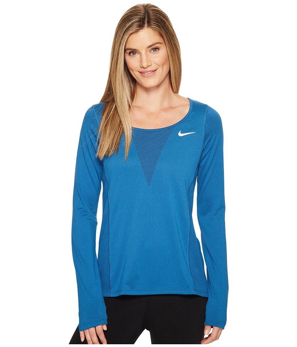 Nike - Zonal Cooling Relay Long Sleeve Running Top (Industrial Blue) Women's Clothing