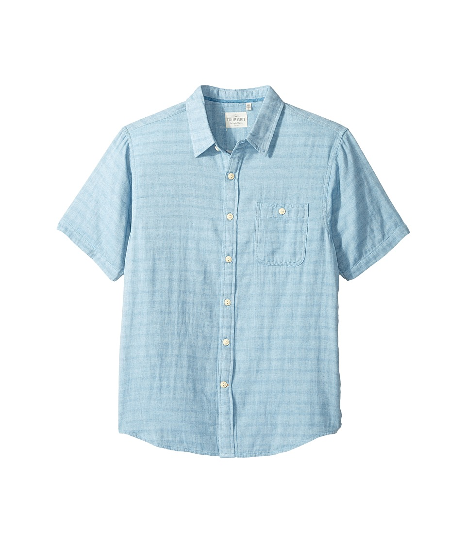 True Grit - Indigo Surf Plaid One-Pocket Short Sleeve Shirt Double Light Combed Cotton (Light Chambray) Men's Clothing