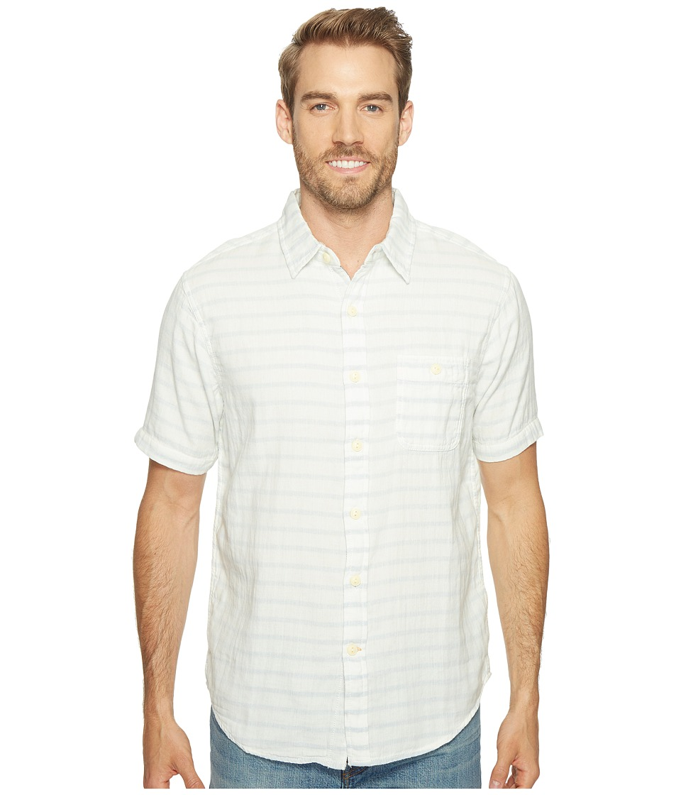 True Grit - Indigo Surf Plaid Short Sleeve Shirt (White) Men's Clothing