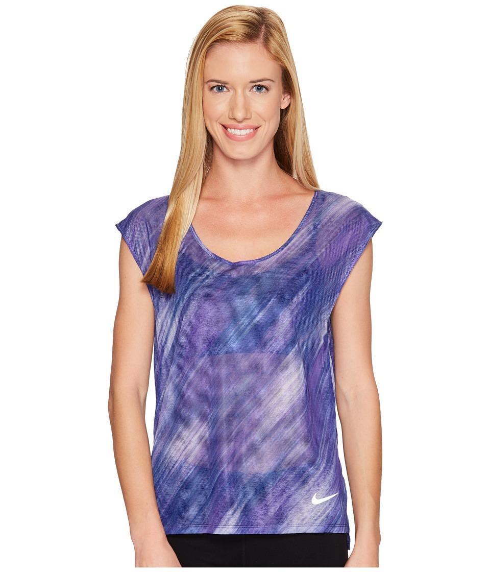 Nike - Breathe Print Cool Top (Binary Blue) Women's Clothing