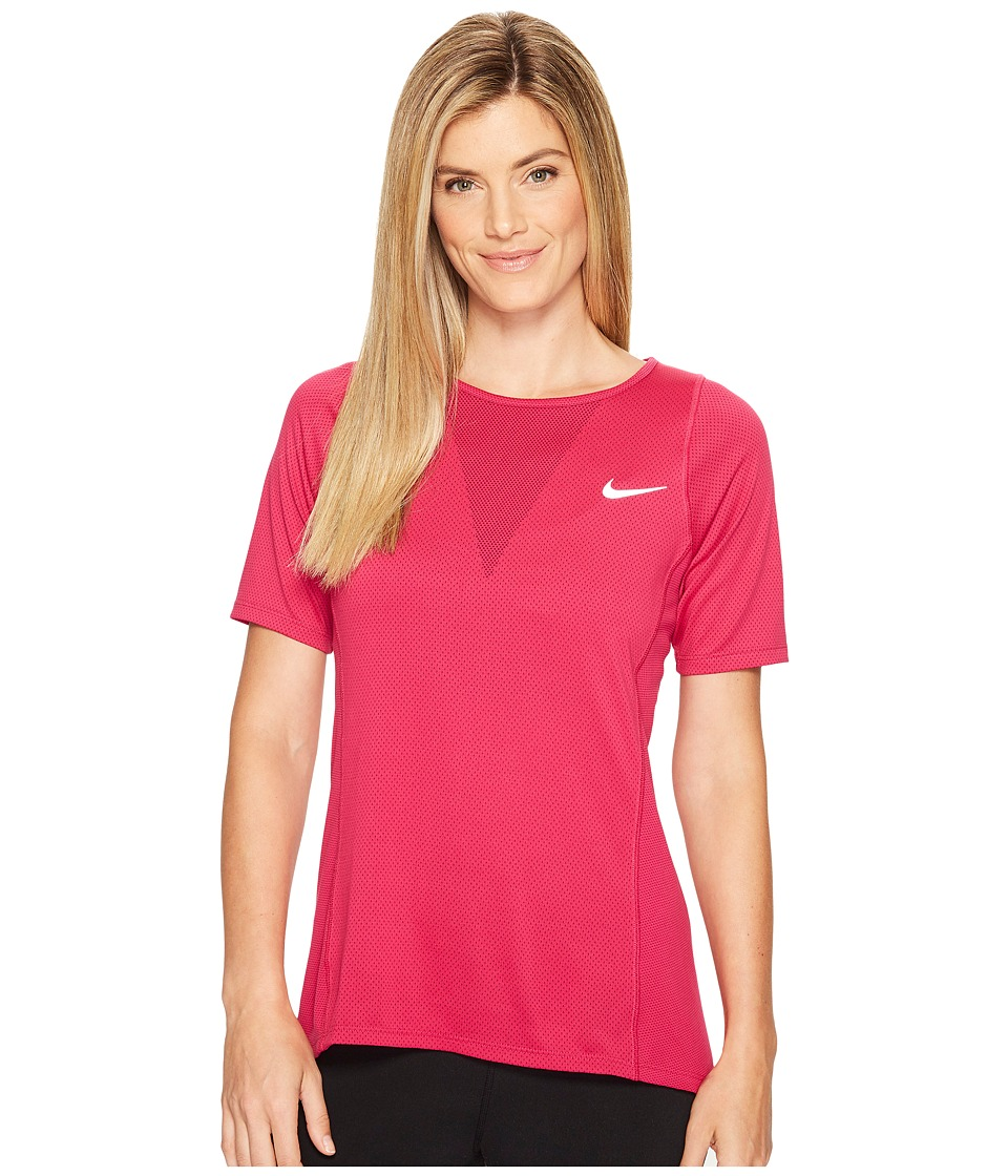 Nike - Zonal Cooling Relay Short Sleeve Running Top (True Berry) Women's Clothing