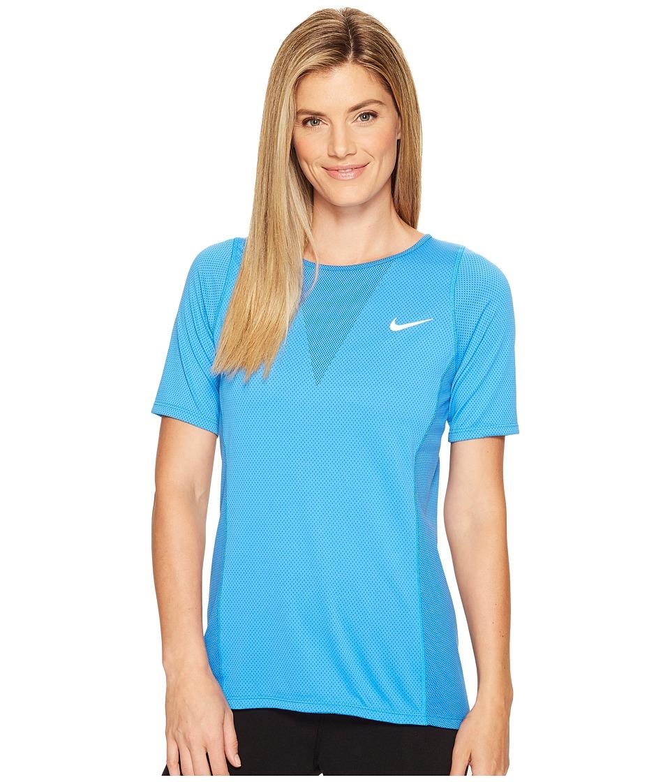 Nike - Zonal Cooling Relay Short Sleeve Running Top (Light Photo Blue) Women's Clothing