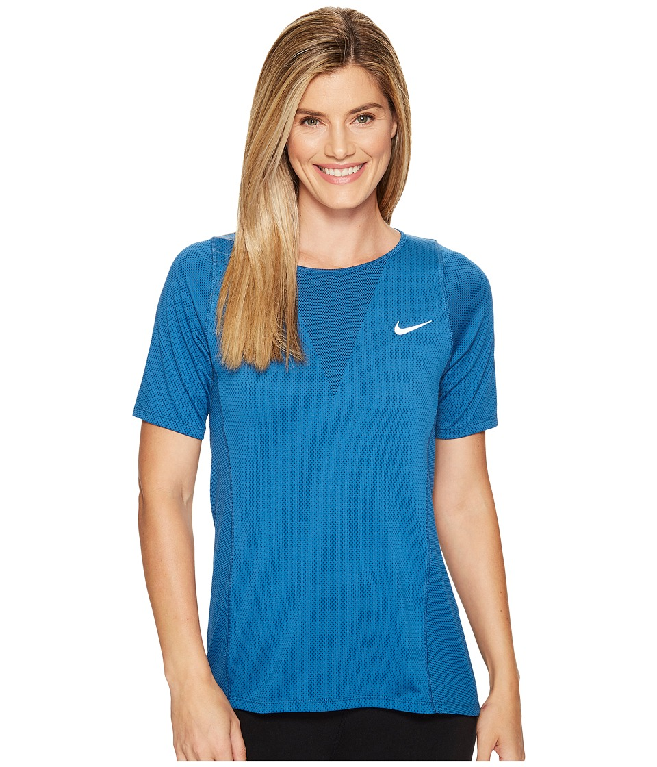 Nike - Zonal Cooling Relay Short Sleeve Running Top (Industrial Blue) Women's Clothing
