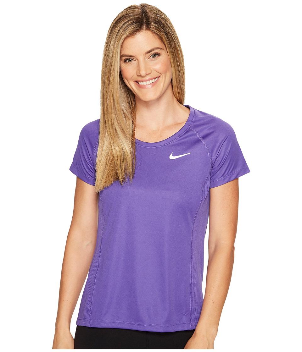 Nike - Dry Miler Short Sleeve Running Top (Dark Iris/Dark Raisin) Women's Clothing
