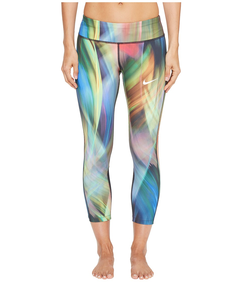 Nike - Power Epic Print Running Crop (Light Photo Blue/Black) Women's Clothing