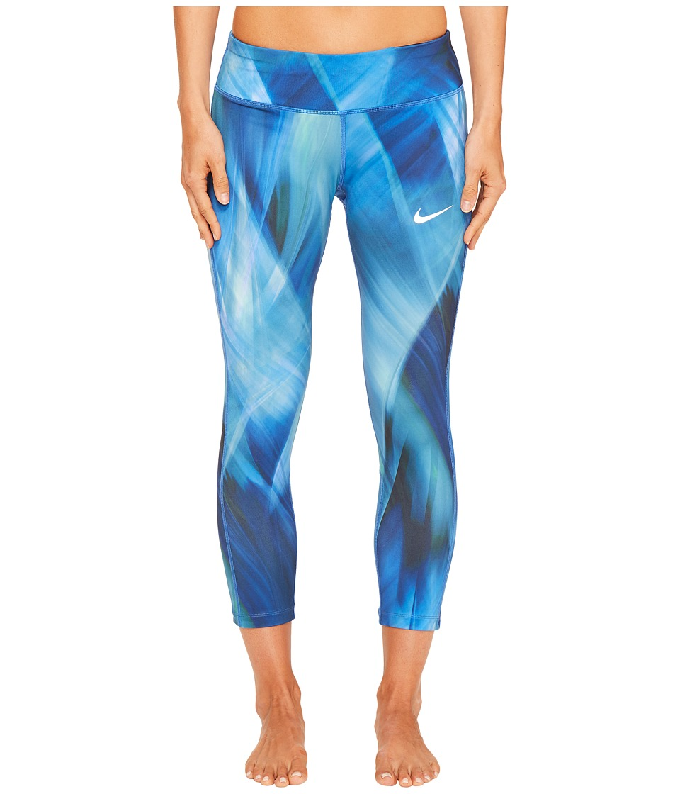 Nike - Power Epic Print Running Crop (Industrial Blue/Industrial Blue) Women's Clothing