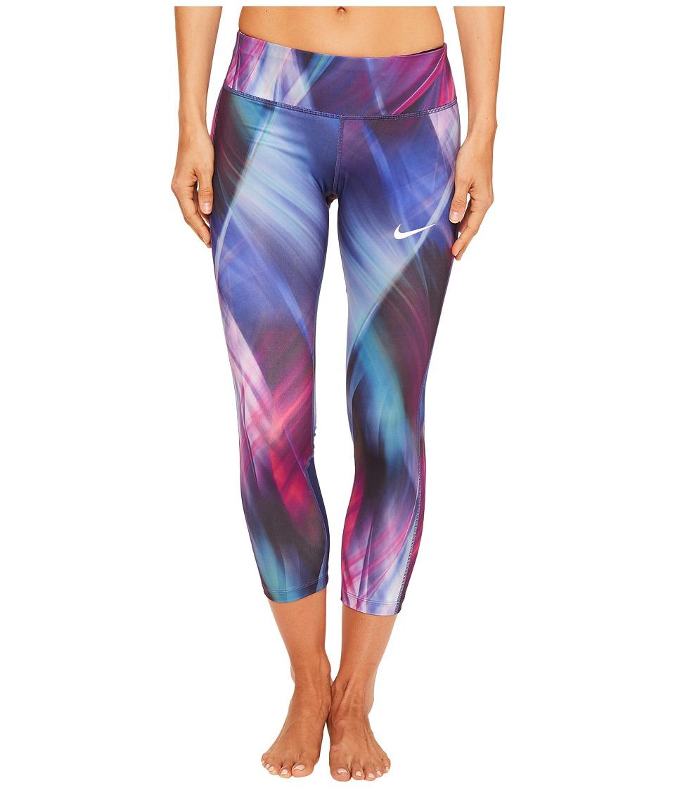 Nike - Power Epic Print Running Crop (Hyper Grape/Binary Blue) Women's Clothing