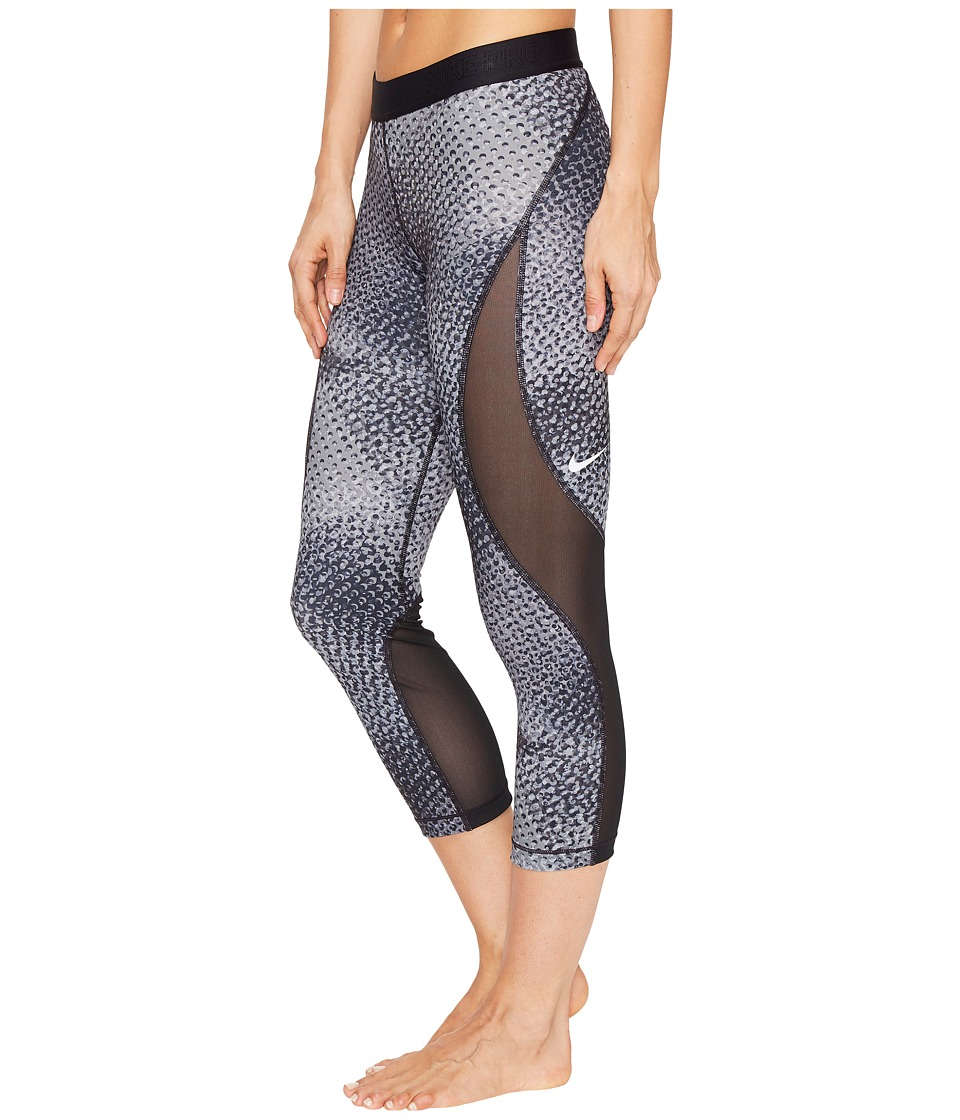 Nike - Pro Hypercool Woven Printed Training Capri (Pure Platinum/Black) Women's Capri